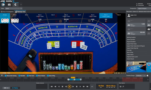 Security management system monitoring casino operations